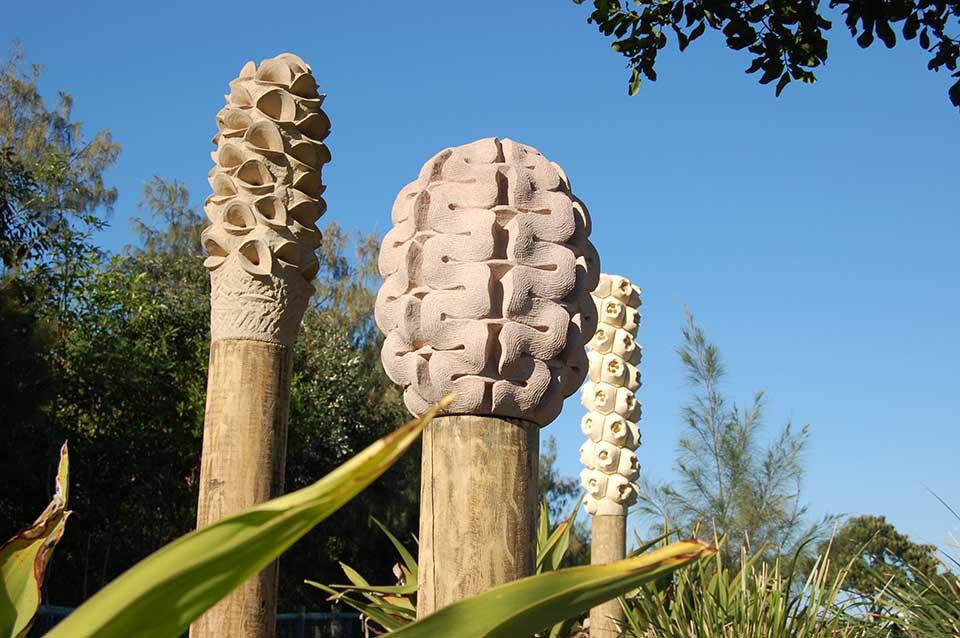 Stone-Fruit-by-Jamie-Sargeant,-Casuarina-Sculpture-Walk-NSW